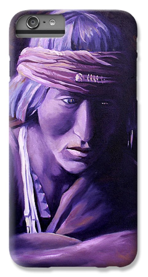 Native American IPhone 6 Plus Case featuring the painting Medicine Man by Nancy Griswold