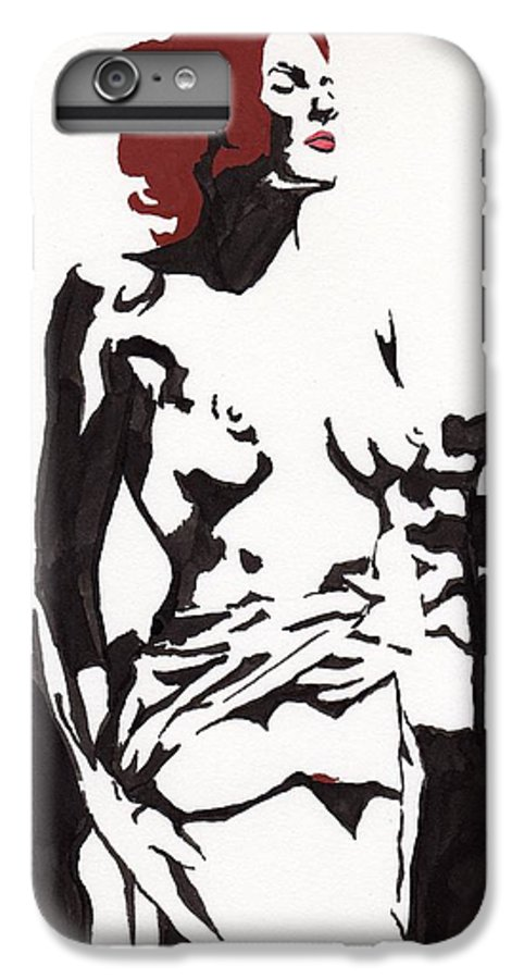 IPhone 6 Plus Case featuring the drawing Megan - Sunlight by Stephen Panoushek