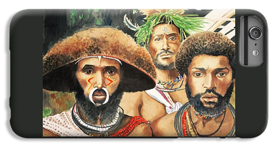 Men From New Guinea IPhone 6 Plus Case featuring the painting Men From New Guinea by Judy Swerlick