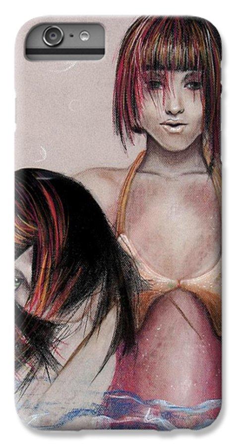 Mermaid IPhone 6 Plus Case featuring the drawing Mermaid Emerging by Maryn Crawford