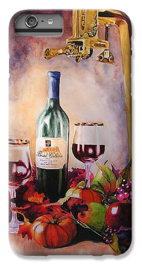 Wine IPhone 6 Plus Case featuring the painting Merriment by Karen Stark
