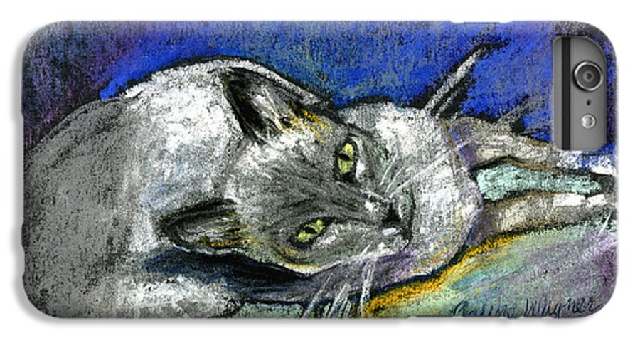 Cat IPhone 6 Plus Case featuring the pastel Michael Campbell by Arline Wagner