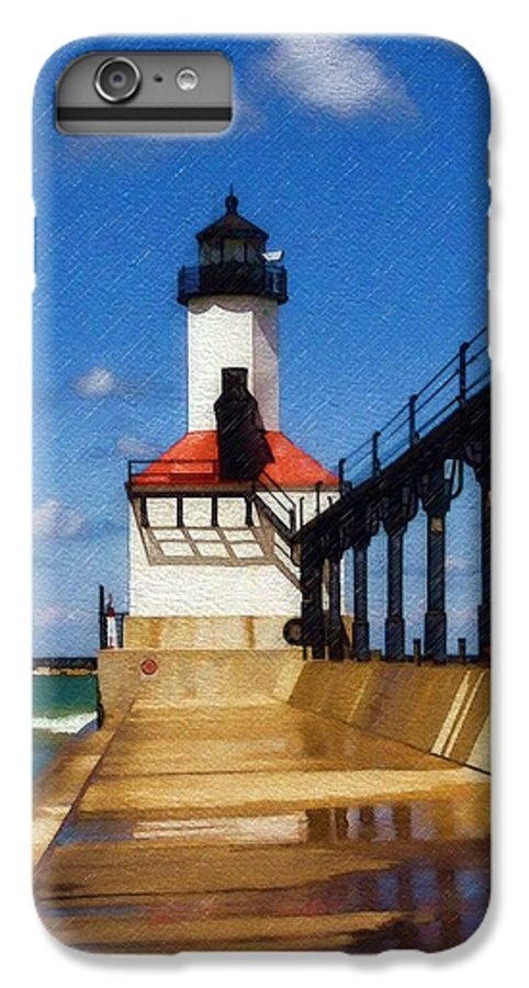 Lighthouse IPhone 6 Plus Case featuring the photograph Michigan City Light 1 by Sandy MacGowan