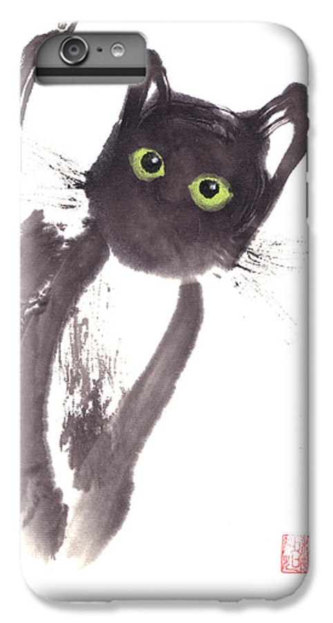 A Curious Black Kitten. This Is A Contemporary Chinese Ink And Color On Rice Paper Painting With Simple Zen Style Brush Strokes.  IPhone 6 Plus Case featuring the painting Midnight by Mui-Joo Wee