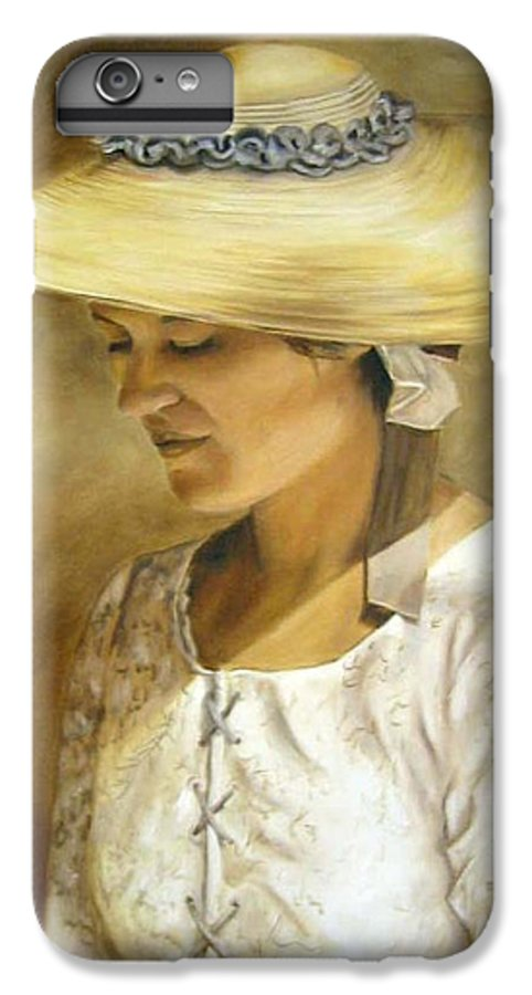Portrait IPhone 6 Plus Case featuring the painting Milliners Daughter by Anne Kushnick