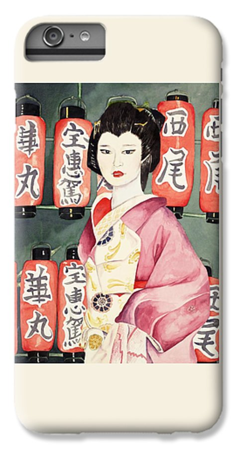 Geisha In Kimono With Red Lanterns IPhone 6 Plus Case featuring the painting Miss Hanamaru At Osaka Festival by Judy Swerlick