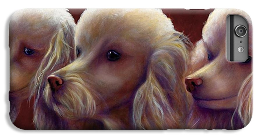 Dogs IPhone 6 Plus Case featuring the painting Molly Charlie And Abby by Shannon Grissom