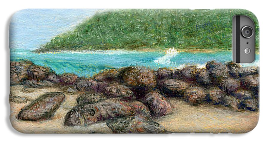 Coastal Decor IPhone 6 Plus Case featuring the painting Moloa'a Rocks by Kenneth Grzesik