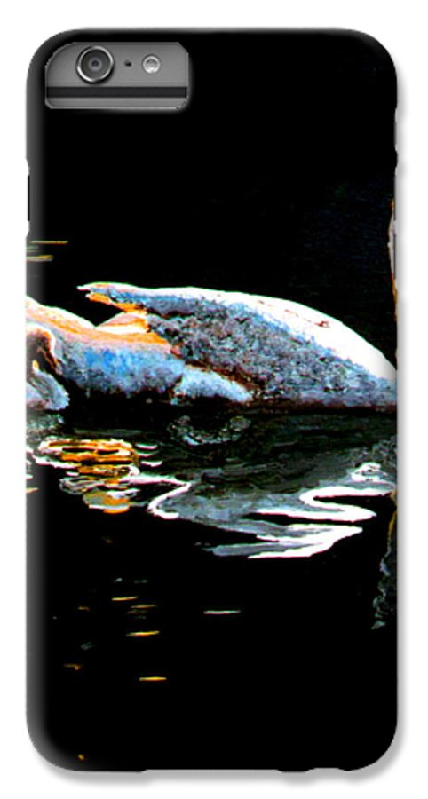 Swan IPhone 6 Plus Case featuring the painting Mom And Baby Swan by Stan Hamilton
