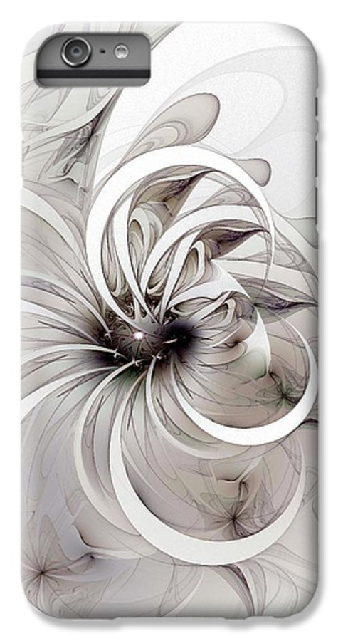 Digital Art IPhone 6 Plus Case featuring the digital art Monochrome Flower by Amanda Moore
