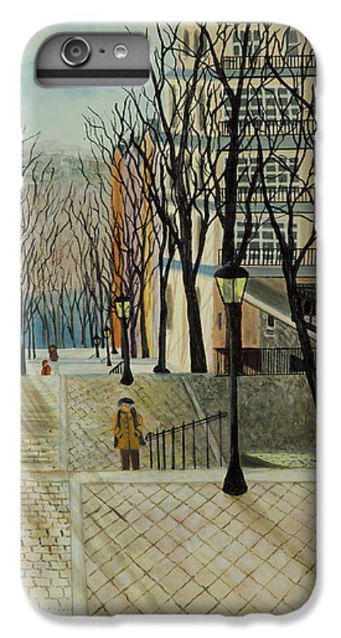 Paris IPhone 6 Plus Case featuring the painting Montmartre Steps In Paris by Susan Kubes