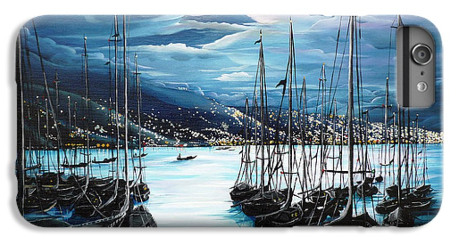 Ocean Painting  Caribbean Seascape Painting Moonlight Painting Yachts Painting Marina Moonlight Port Of Spain Trinidad And Tobago Painting Greeting Card Painting IPhone 6 Plus Case featuring the painting Moonlight Over Port Of Spain by Karin Dawn Kelshall- Best