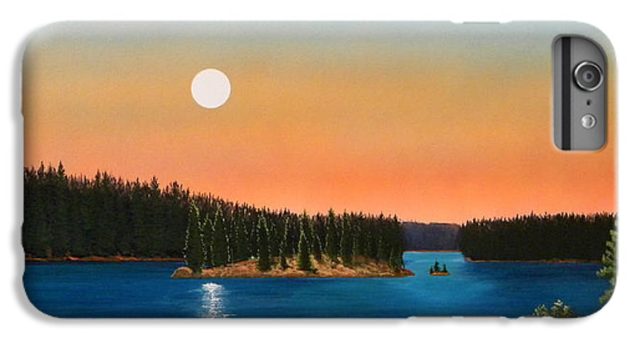 Landscape IPhone 6 Plus Case featuring the painting Moonrise Over The Lake by Frank Wilson