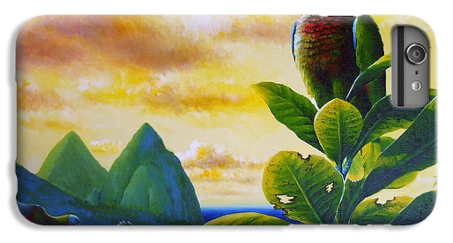 Chris Cox IPhone 6 Plus Case featuring the painting Morning Glory - St. Lucia Parrots by Christopher Cox