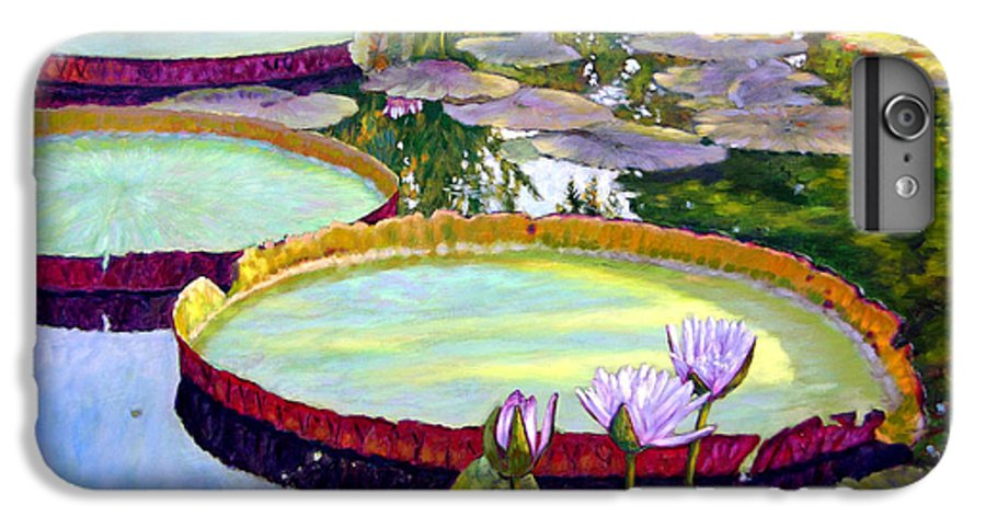 Garden Pond IPhone 6 Plus Case featuring the painting Morning Highlights by John Lautermilch
