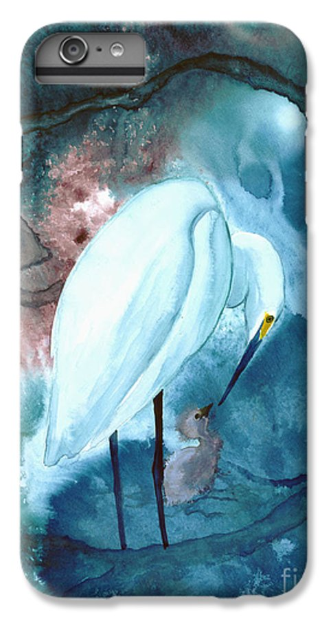 A Mother Egret With Her Chick- A Watercolor Painting IPhone 6 Plus Case featuring the painting Mother And Child by Mui-Joo Wee