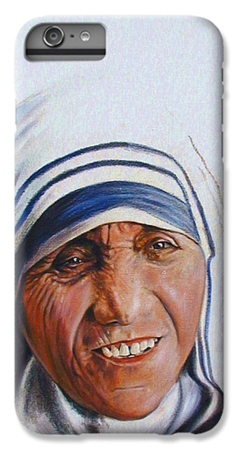 Mother Teresa IPhone 6 Plus Case featuring the painting Mother Teresa by John Lautermilch