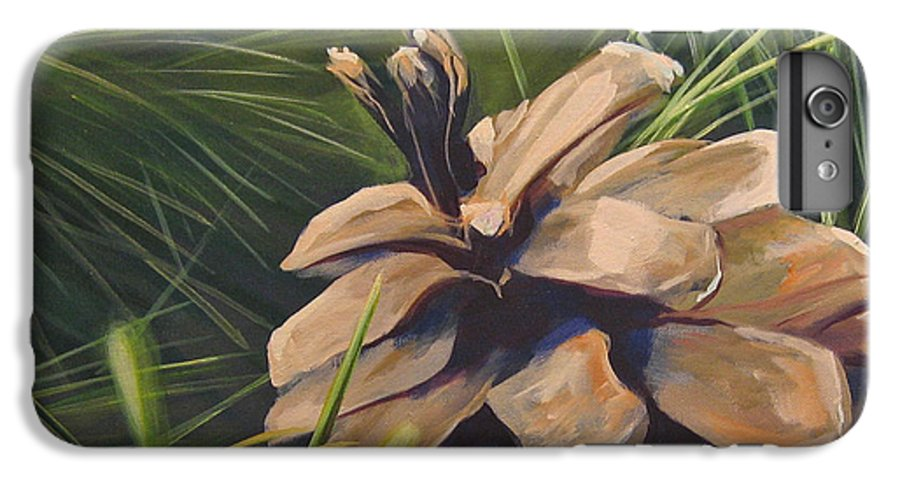 Pinecone Closeup IPhone 6 Plus Case featuring the painting Mountain Echoes by Hunter Jay