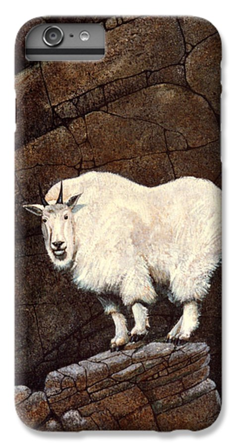 Wildlife IPhone 6 Plus Case featuring the painting Mountain Goat by Frank Wilson