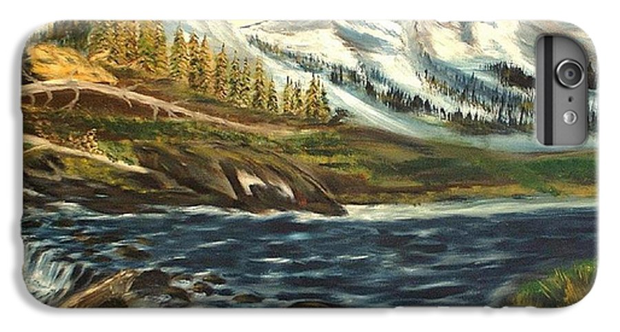 Landscape IPhone 6 Plus Case featuring the painting Mountain River by Kenneth LePoidevin