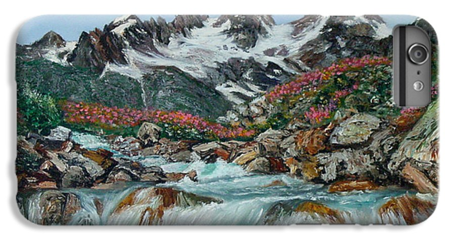 Mountain IPhone 6 Plus Case featuring the painting Mountain Stream by Quwatha Valentine