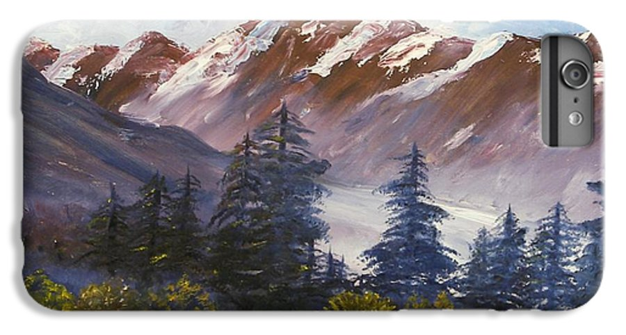 Oil Painting IPhone 6 Plus Case featuring the painting Mountains I by Lessandra Grimley