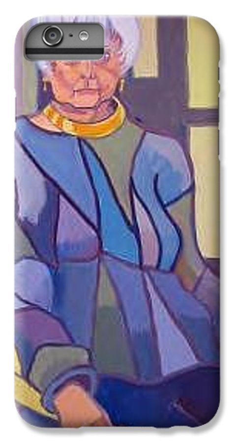 Mature Woman Sitting In A Chair IPhone 6 Plus Case featuring the painting Mrs. Edith Lipton by Debra Bretton Robinson