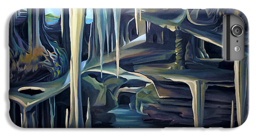 Mural IPhone 6 Plus Case featuring the painting Mural Ice Monks In November by Nancy Griswold
