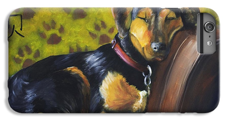 Dog IPhone 6 Plus Case featuring the painting Murphy Vi Sleeping by Nik Helbig