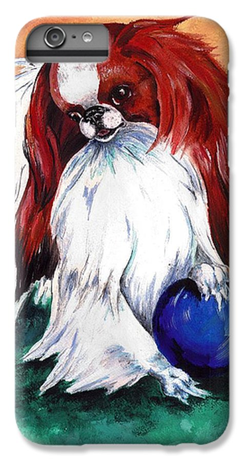 Japanese Chin IPhone 6 Plus Case featuring the painting My Ball by Kathleen Sepulveda
