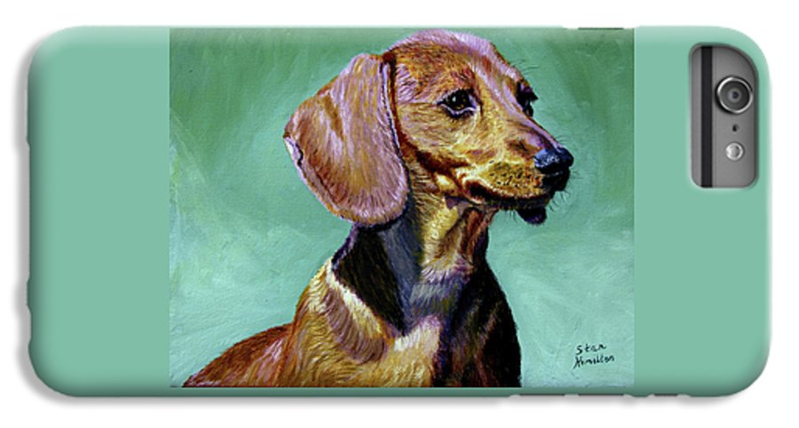 Daschund IPhone 6 Plus Case featuring the painting My Daschund by Stan Hamilton