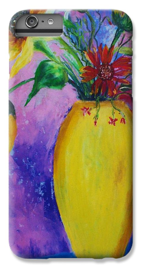 Sunflowers IPhone 6 Plus Case featuring the painting My Flowers by Melinda Etzold