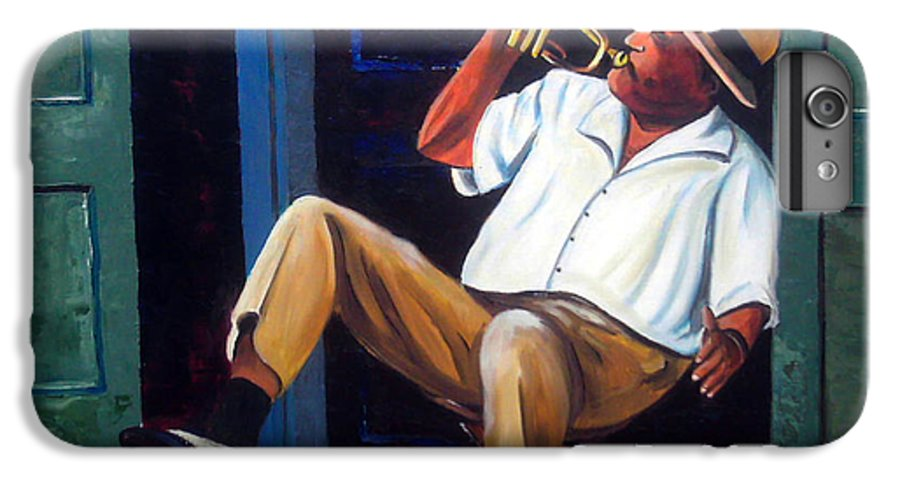 Cuba Art IPhone 6 Plus Case featuring the painting My Trumpet by Jose Manuel Abraham