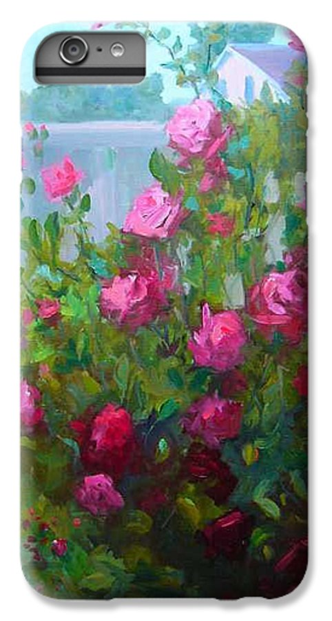 Climing Red Roses On Fence IPhone 6 Plus Case featuring the painting Myback Yard Roses by Patricia Kness