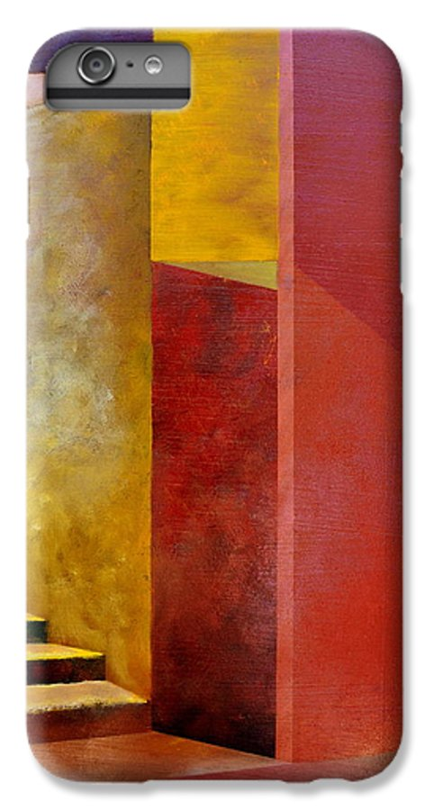 Gold IPhone 6 Plus Case featuring the painting Mystery Stairway by Michelle Calkins