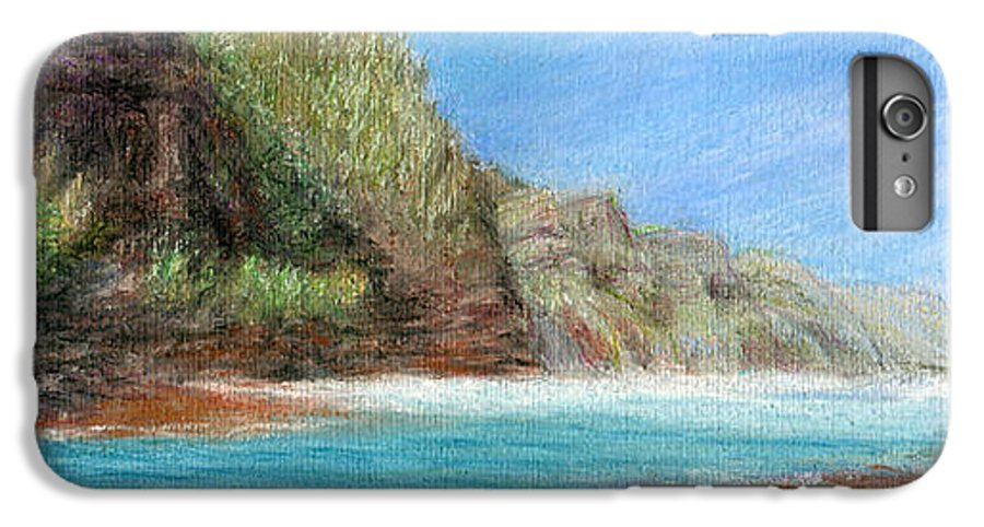 Rainbow Colors Pastel IPhone 6 Plus Case featuring the painting Na Pali by Kenneth Grzesik