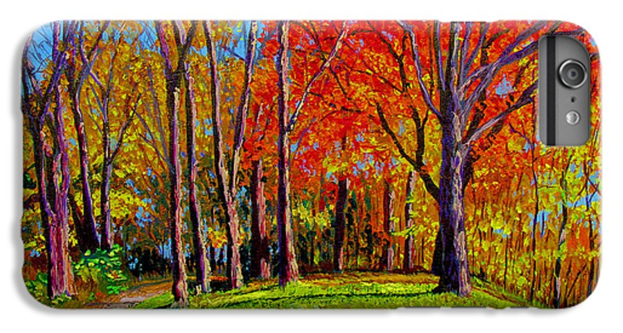 Trees Autumn Hill Grass Sunshine Shadows Sky Colors Path IPhone 6 Plus Case featuring the painting Nashville North by Stan Hamilton