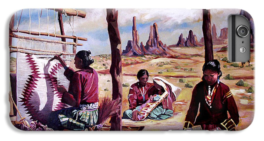 Native American IPhone 6 Plus Case featuring the painting Navajo Weavers by Nancy Griswold