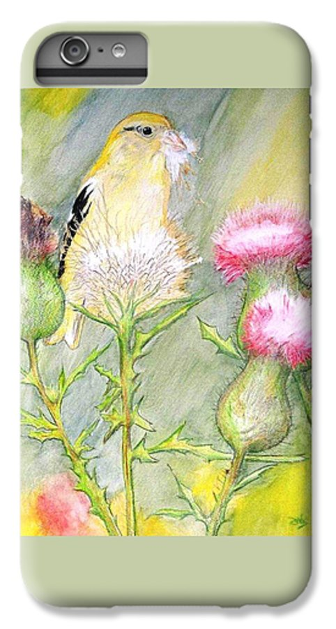 Goldfinch IPhone 6 Plus Case featuring the painting Nest Fluff by Debra Sandstrom