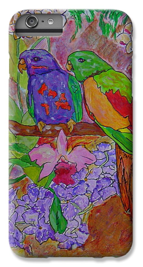 Tropical Pair Birds Parrots Original Illustration Leilaatkinson IPhone 6 Plus Case featuring the painting Nesting by Leila Atkinson