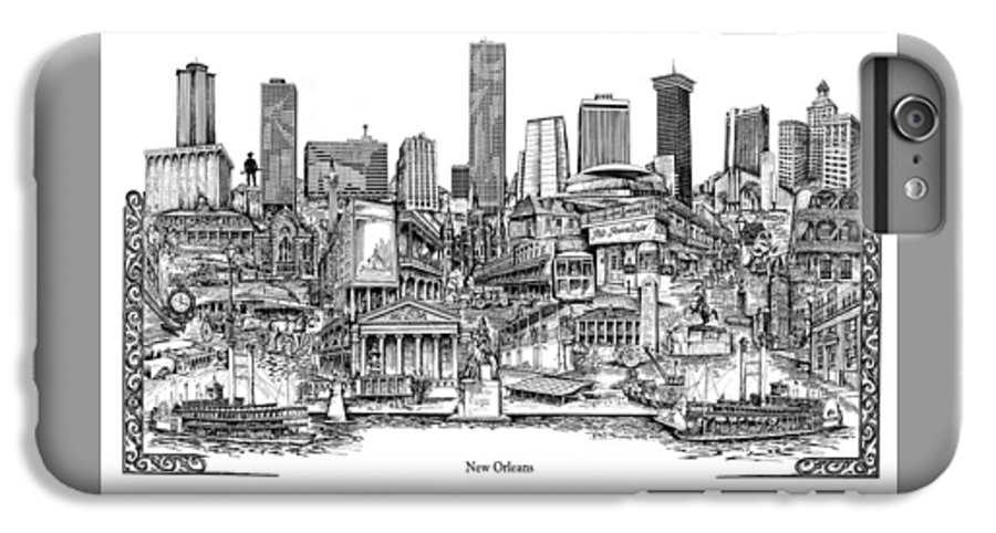 City Drawing IPhone 6 Plus Case featuring the drawing New Orleans by Dennis Bivens