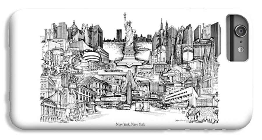 City Drawing IPhone 6 Plus Case featuring the drawing New York by Dennis Bivens