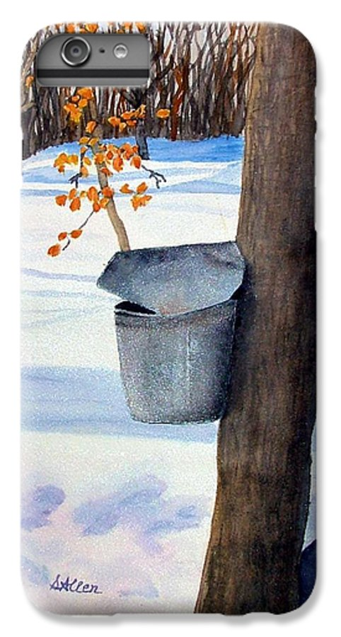 Sap Bucket. Maple Sugaring IPhone 6 Plus Case featuring the painting Nh Goldmine by Sharon E Allen