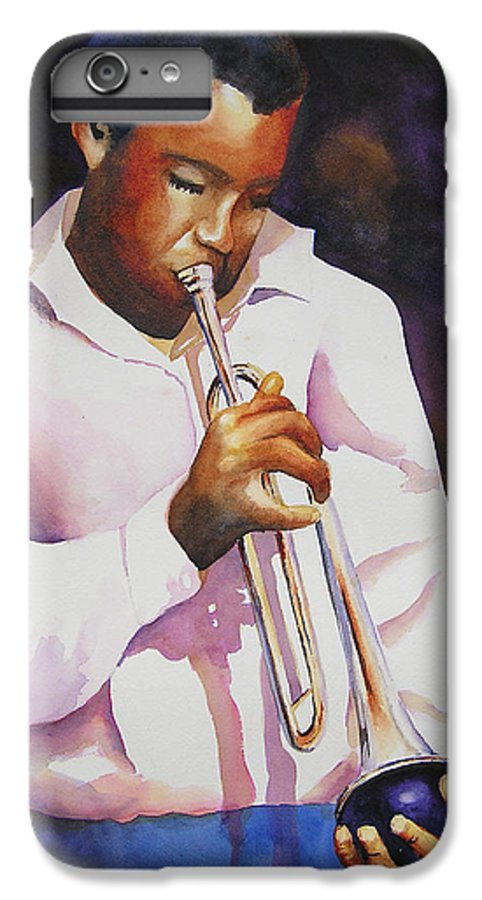 Trumpet IPhone 6 Plus Case featuring the painting Night Music by Karen Stark