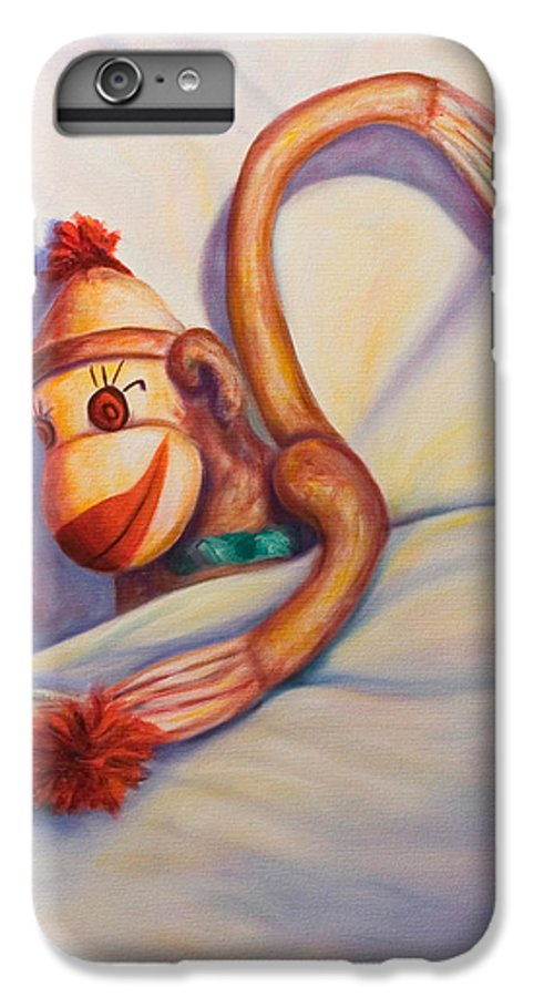 Children IPhone 6 Plus Case featuring the painting Night Night Sock Monkey by Shannon Grissom