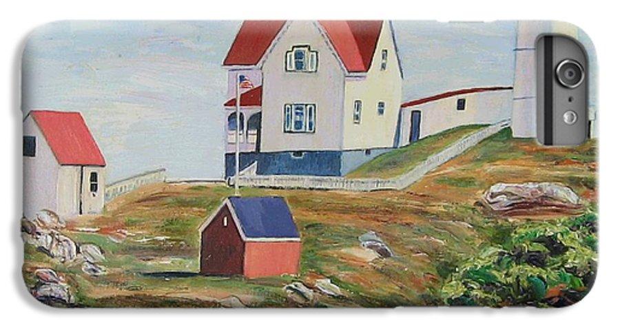 Nubble Light House IPhone 6 Plus Case featuring the painting Nubble Light House Maine by Richard Nowak