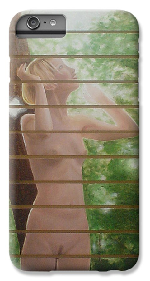 Realistic IPhone 6 Plus Case featuring the painting Nude Forest by Angel Ortiz