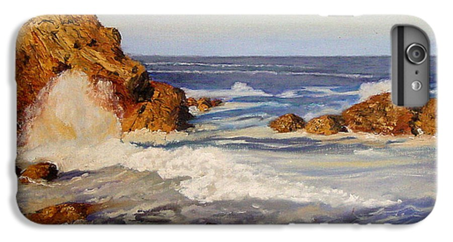 Seascape IPhone 6 Plus Case featuring the painting Ocean Rock by Quwatha Valentine