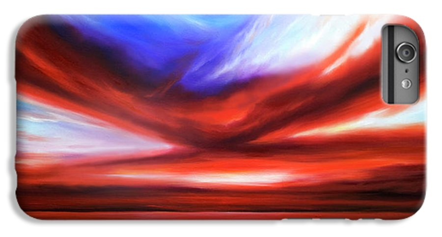 Sunrise; Sunset; Power; Glory; Cloudscape; Skyscape; Purple; Red; Blue; Stunning; Landscape; James C. Hill; James Christopher Hill; Jameshillgallery.com; Ocean; Lakes; Storm; Tornado; Lightning IPhone 6 Plus Case featuring the painting October Sky V by James Christopher Hill