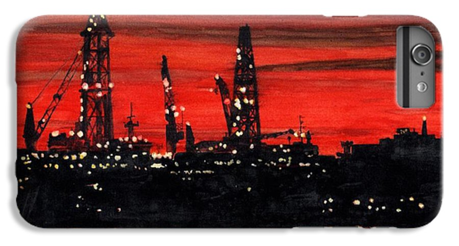 Cityscape IPhone 6 Plus Case featuring the painting Oil Rigs Night Construction Portland Harbor by Dominic White